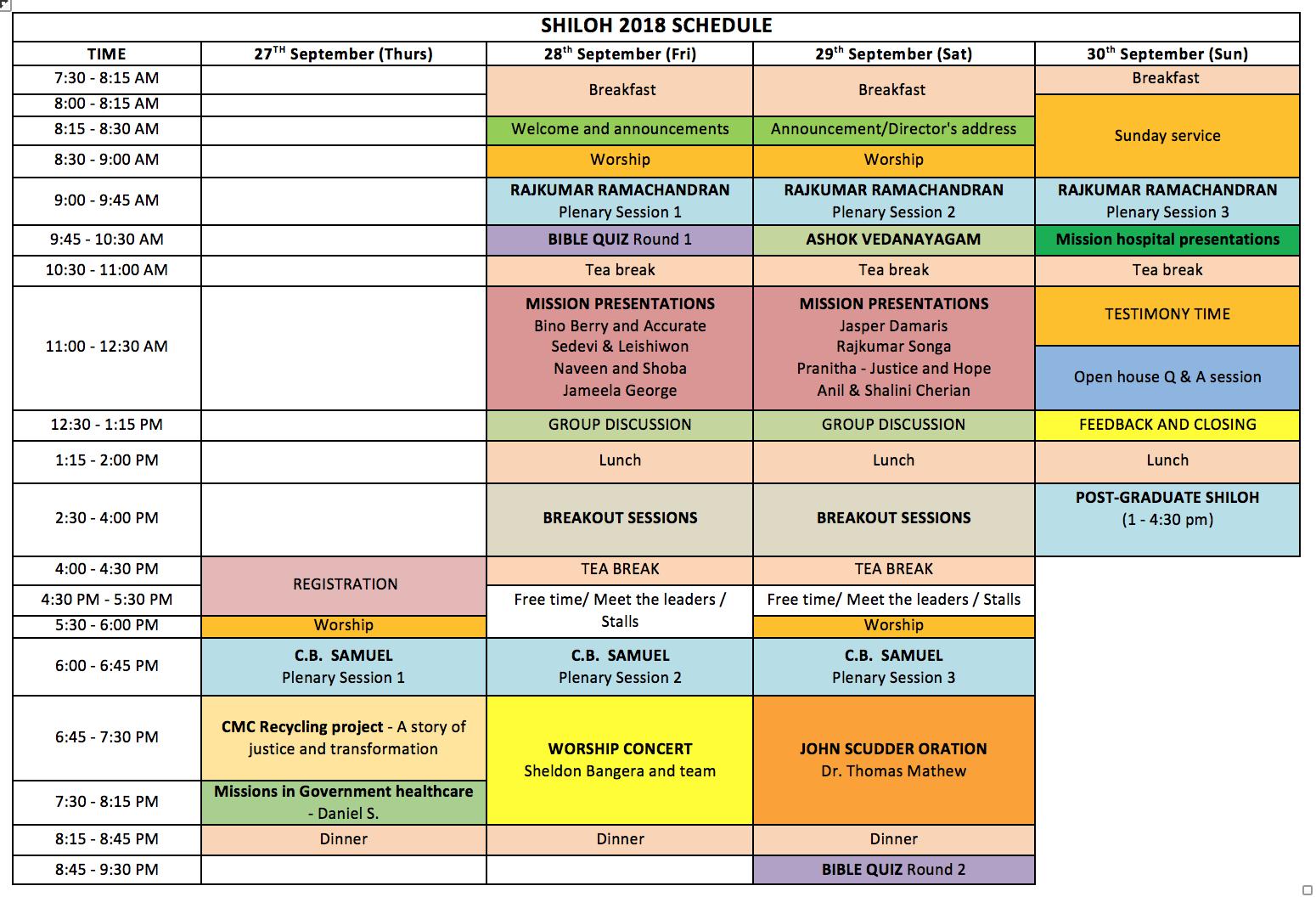 Shiloh 2018 final schedule